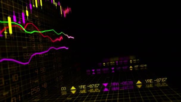 Tőzsdei indexek haladunk a virtuális térben. Gazdasági növekedés, a recesszió. végtelenített