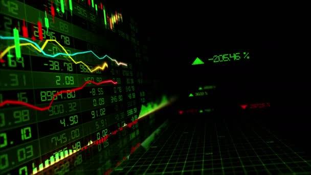 Die Aktienindizes bewegen sich im virtuellen Raum. Wirtschaftswachstum, Rezession. Schleife
