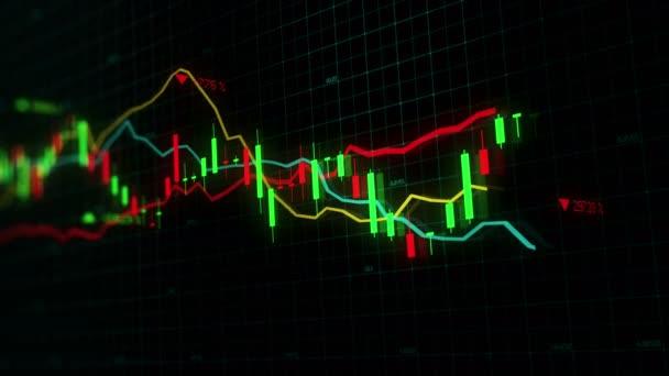 Tőzsdei indexek haladunk a virtuális térben. Gazdasági növekedés, a recesszió. Elektronikus virtuális platform trendek és tőzsdei ingadozások. végtelenített