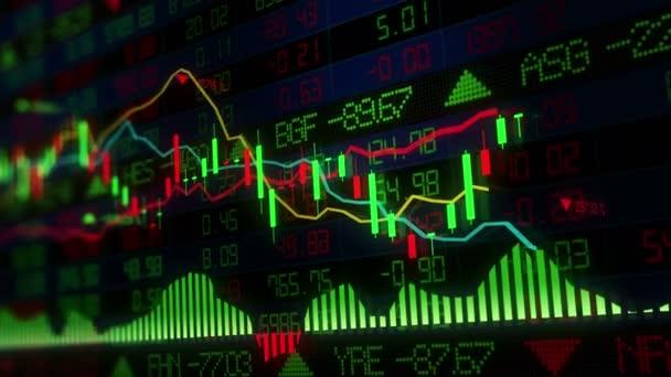 Die Aktienindizes bewegen sich im virtuellen Raum. Wirtschaftswachstum, Rezession. elektronische virtuelle Plattform, die Trends und Börsenschwankungen zeigt. Schleife
