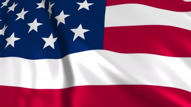 American flag in slow motion. The flag is made on the basis of a fabric smoothly developing in the wind. Wind waves spread over the flag. This version of the flag in smooth motion is suitable for almost any video