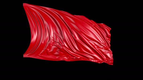 Red cloth in motion. The fabric develops smoothly in the wind. Wind waves spread through the fabric. This version of the fabric in smooth motion is suitable for almost any video