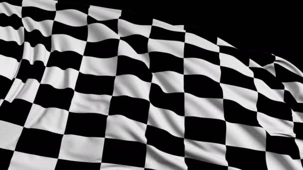 Checkered flag in motion. The fabric develops smoothly in the wind. Wind waves spread through the fabric. This version of the fabric in smooth motion is suitable for almost any video
