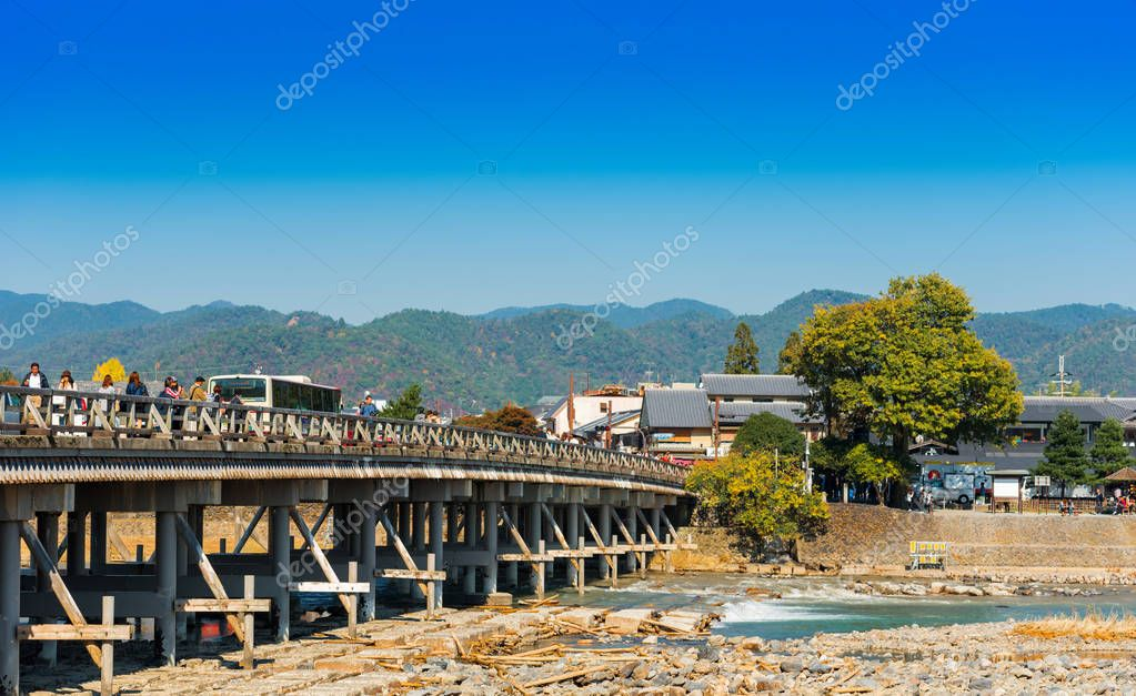 KYOTO, JAPAN - NOVEMBER 7, 2017: View of Togetsu bridge. Copy space for text