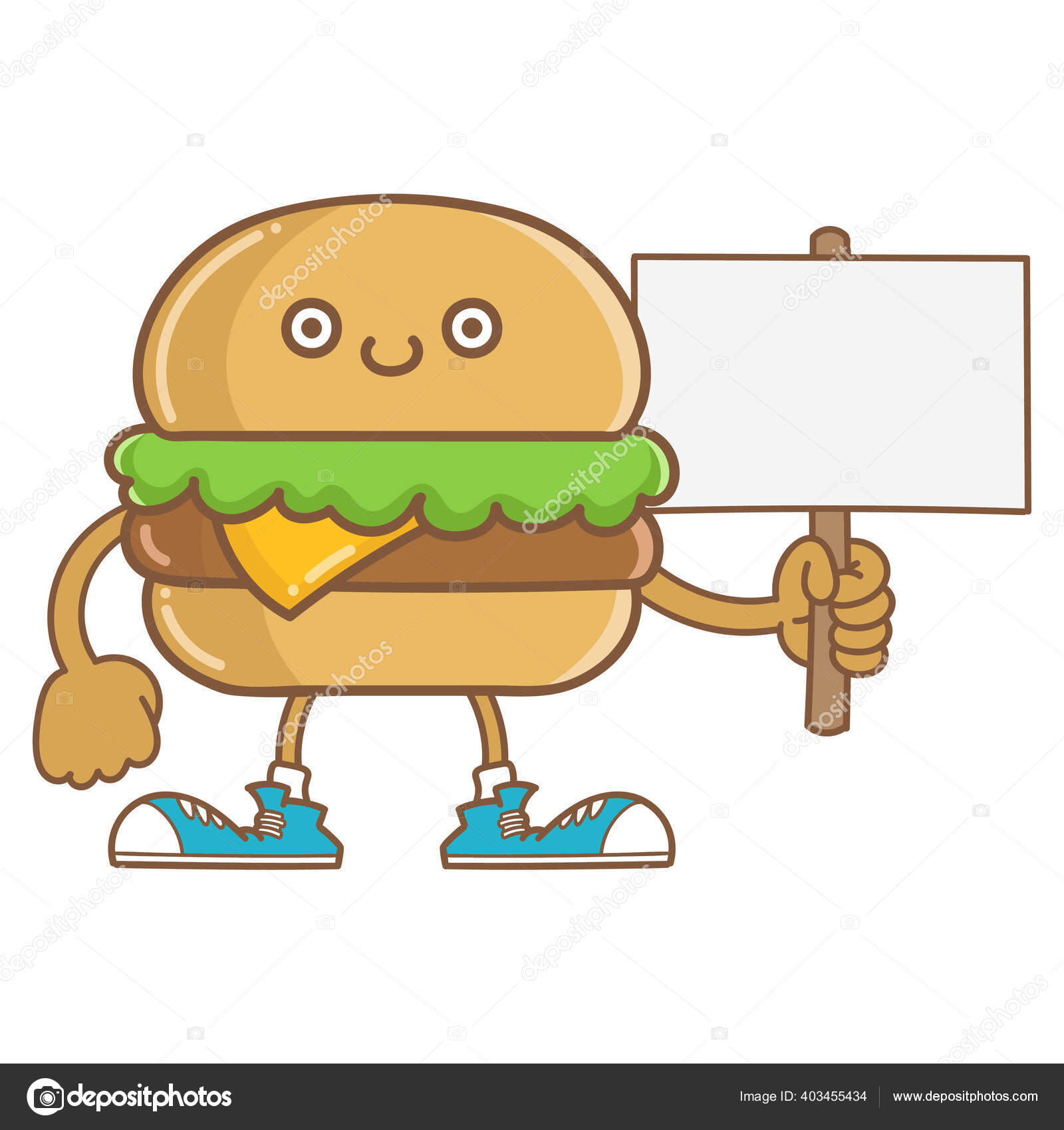 Kawaii Sourire Fromage Hamburger Icone Dessin Anime Isole Sur Fond Image Vectorielle Mictoon C 403455434