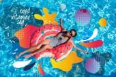 Ázsiai nő a medence felfújható fánk