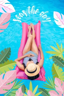Young woman with straw hat covering face floating on air mattress in swimming pool. Seas the day inspiration with palm leaves stock vector