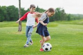 happy little children playing soccer on meadow with green grass