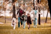 smiling family with labrador running on meadow in autumn park