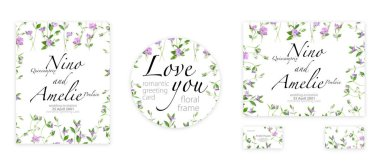 Romantic greeting card. Template for your design. Beautiful spring periwinkle flowers stock vector