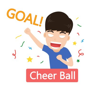 Vector illustration of football fans cheerful celebrating goal