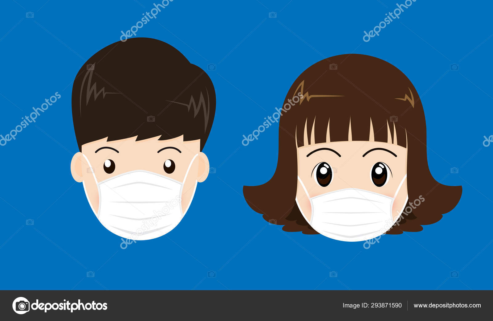 People Face Wearing Medical Mask Isolated Blue Background Vector