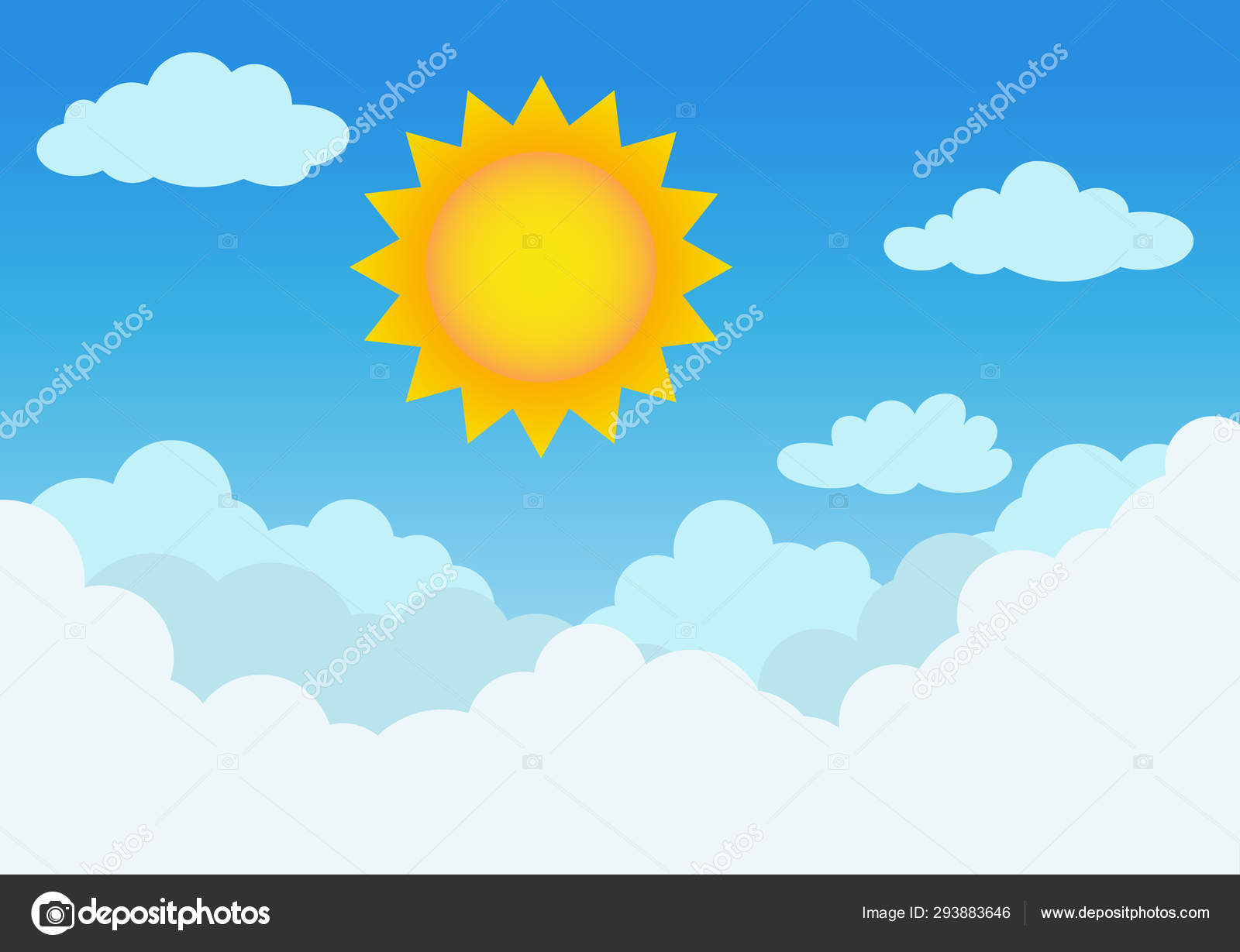 Sunny Cloudy Blue Sky Background Vector Illustration — Stock Vector
