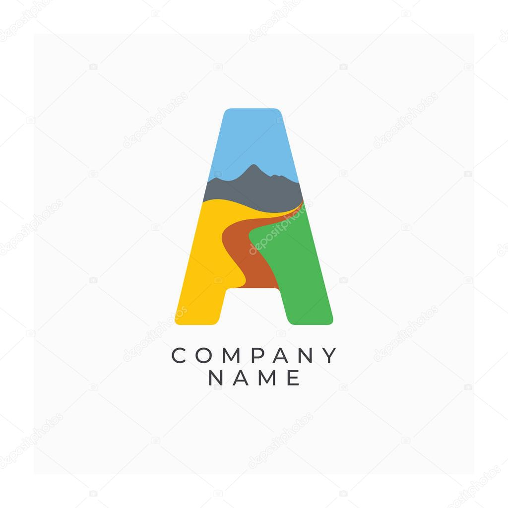 Logo letter A with the image of nature. Icon A. Abstract logo with landscape. Label for agricultural or eco company. Bright  and colorful vector logotype
