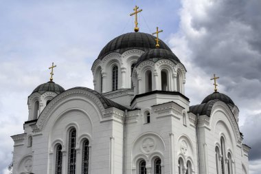 Holy cross Cathedral is a five-domed Cathedral in the neo-Byzantine style, built in 1893-1897 in Polotsk on the territory of the Spaso-Efrosinievsky monastery. Historical and cultural value of Belarus.