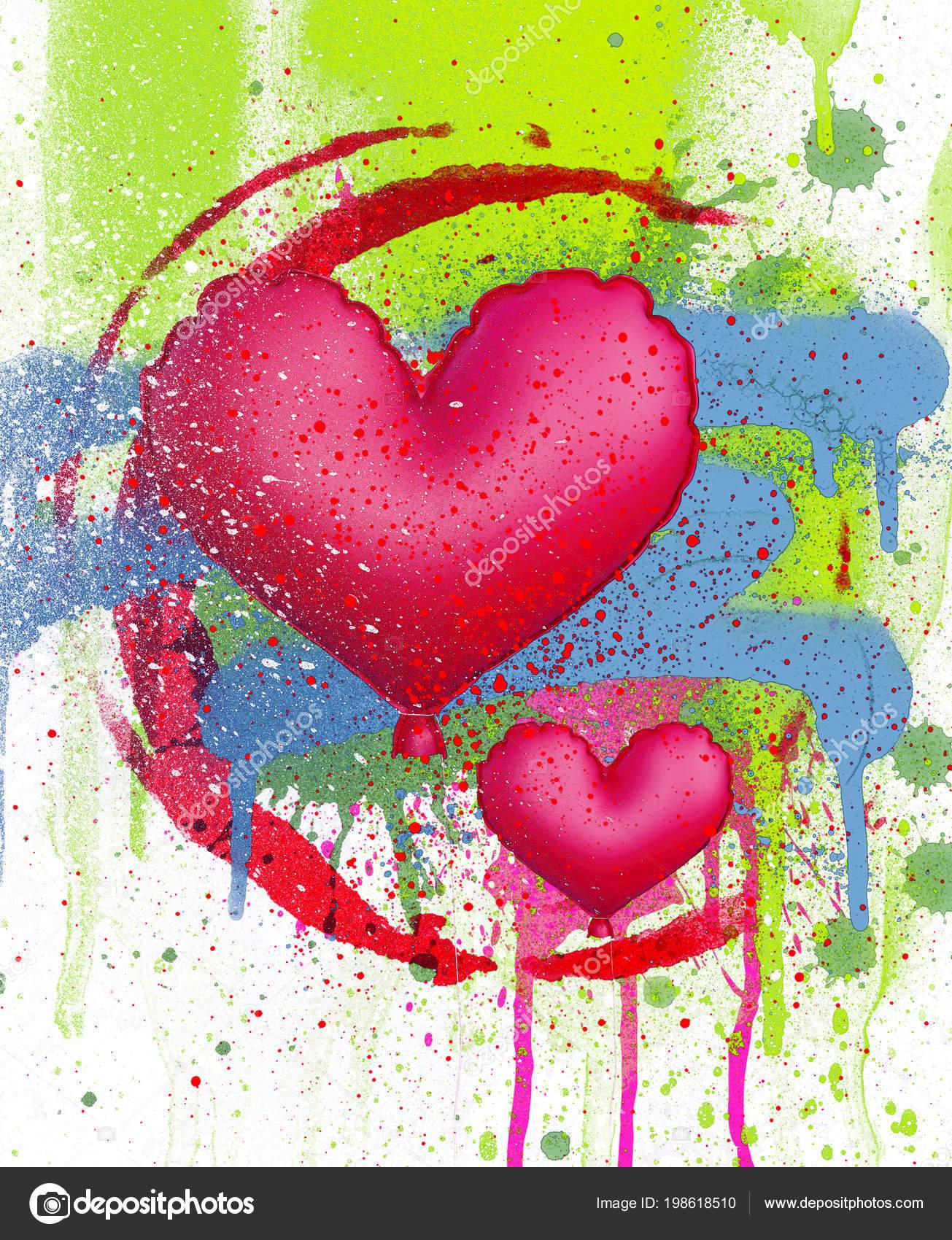Kalp Balon Sprey Boya Arka Plan Karma Ortam üzerinde çizimi Stok