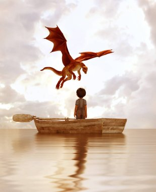 boy standing on an old wooden rowboat in the sea looking at the dragon flying above the sky,3d illustration