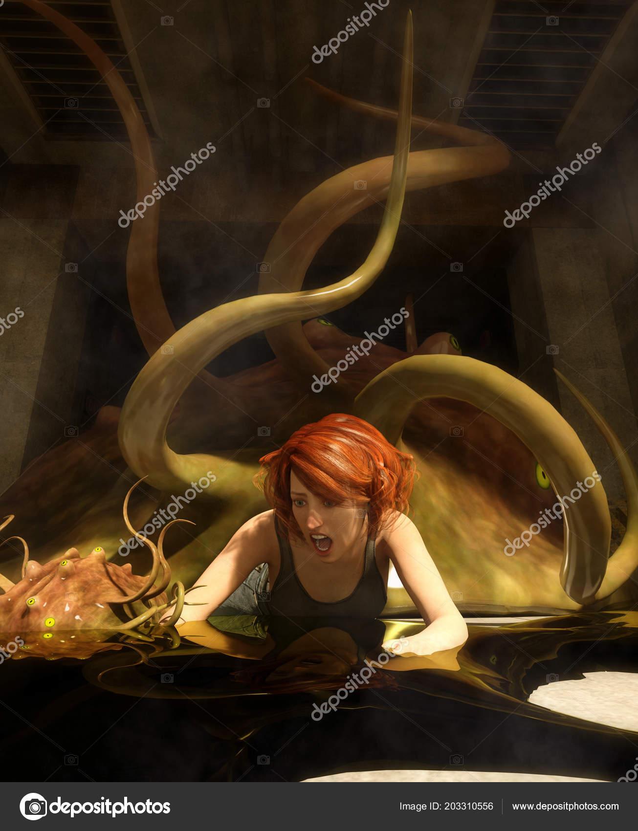 Illustration Fantasy Femme Attaque Par Une Creatures Monstre
