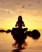 Fotografia illustrazione 3D di silhouette donna facendo meditazione yoga sulla pietra al mare