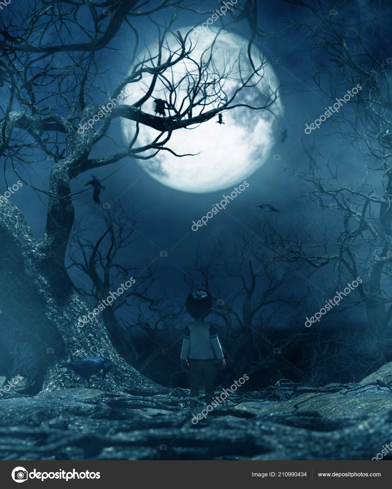 Boy walking alone at night under the moonlightboy lost in the haunted forest3d rendering for book cover or book illustration stock image