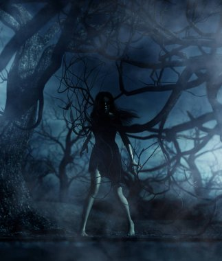 Ghost woman in the woods,3d illustration for book illustration or book cover