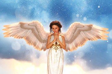 An angel in heaven,3d illustration