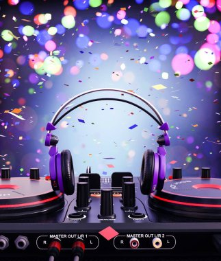 Headphone with Dj controller,3d illustration