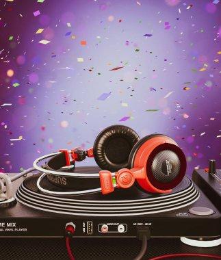 Headphone on Turntable vinyl player,3d illustration