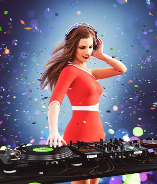 It's all about music,Sexy dj girl in the club,3d illustration