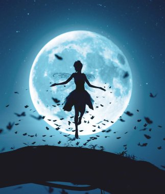 3d rendering of a fairy flying in a magical night