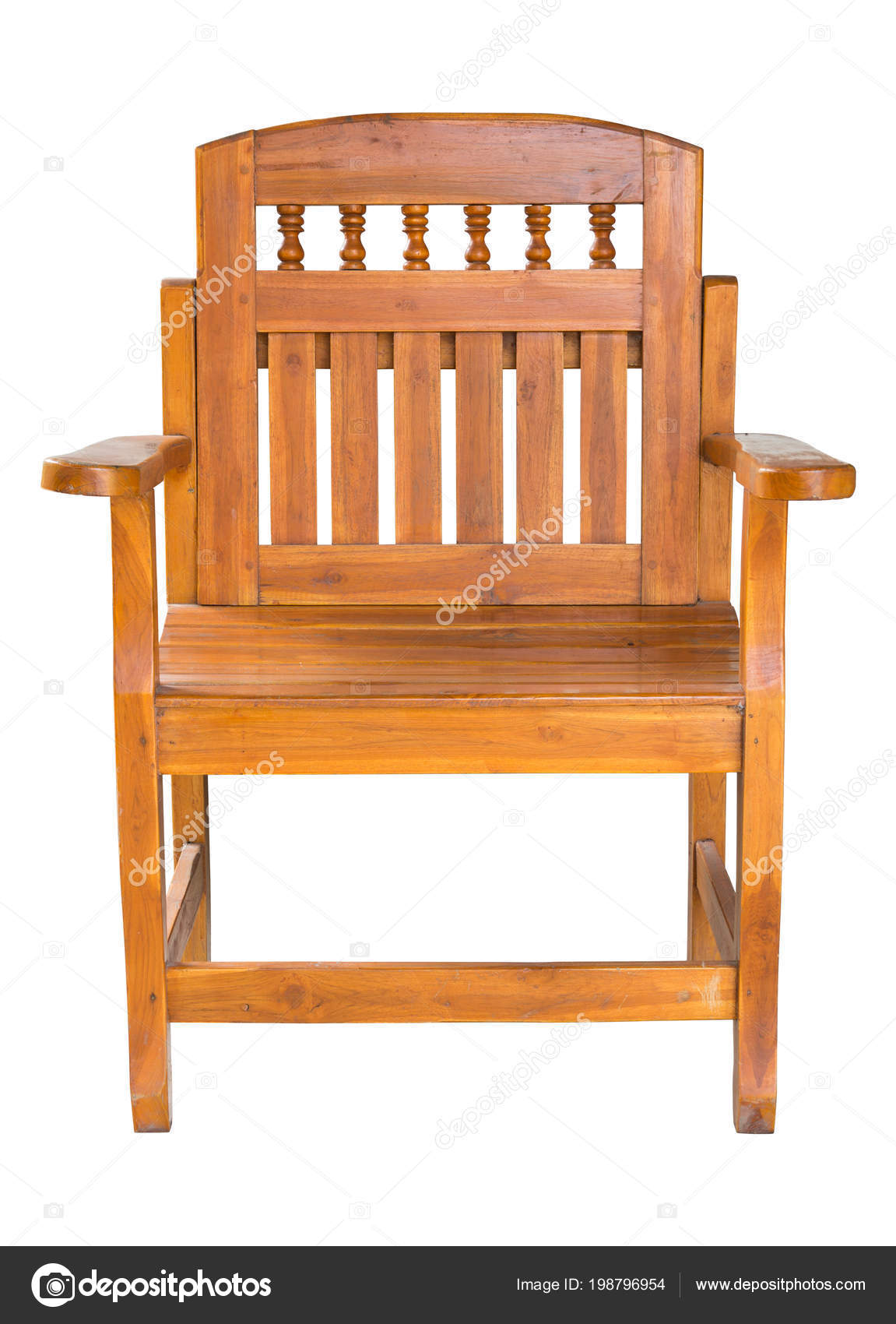 wooden chair front view. Front View Antique Wooden Chair Isolated White Clipping Path \u2014 Stock Photo