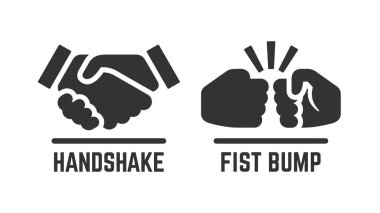 Vector handshake and fist bump icon. Partnership pictogram.