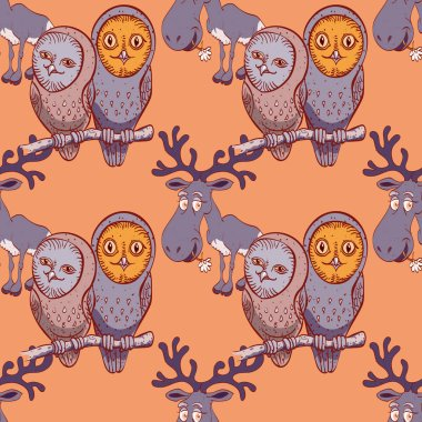 owls and elk seamless pattern