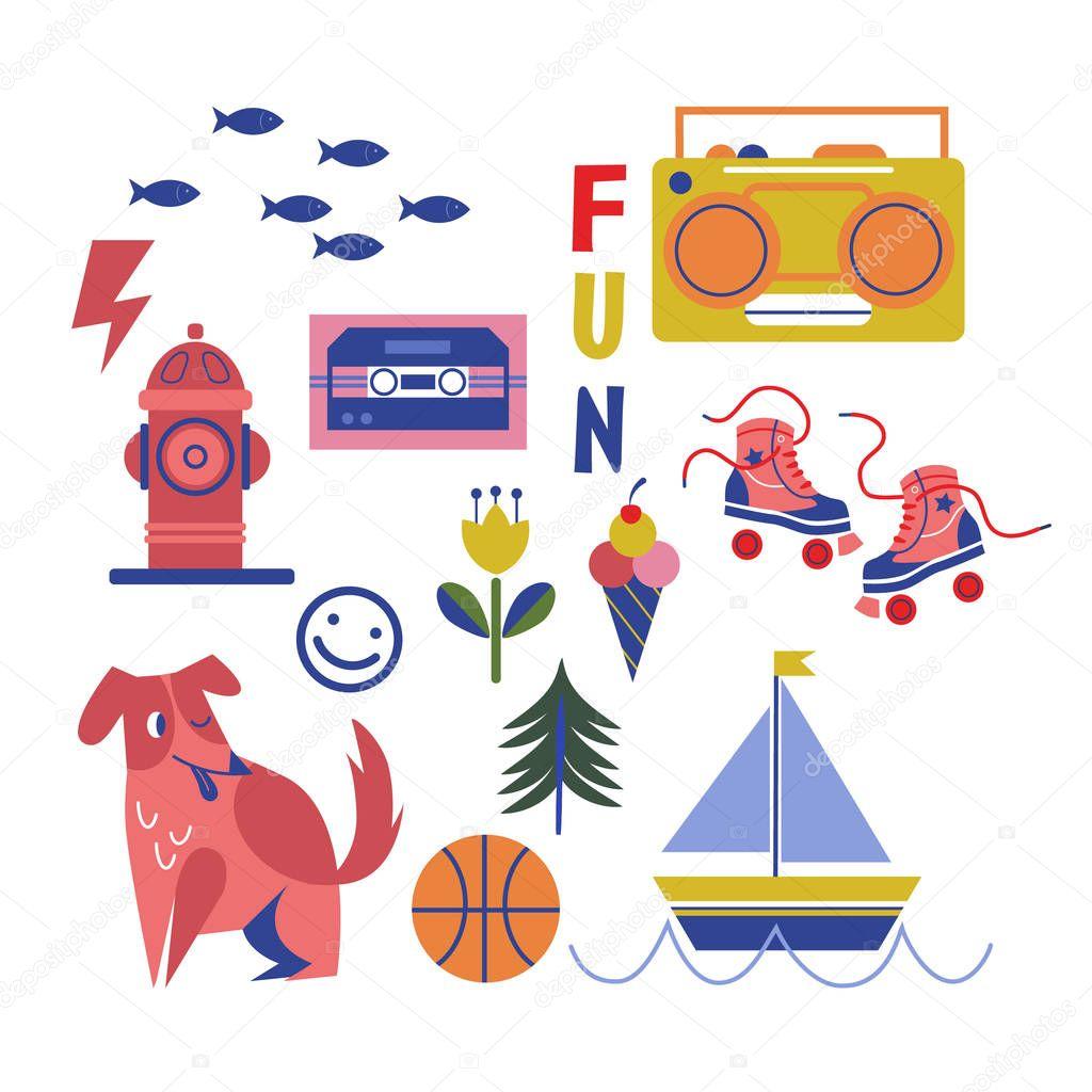 Children playground objects geometric illustration isolated on white