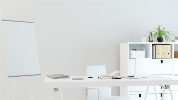 Moderní kancelářská místnost s bílou stěnu a bílý nábytek