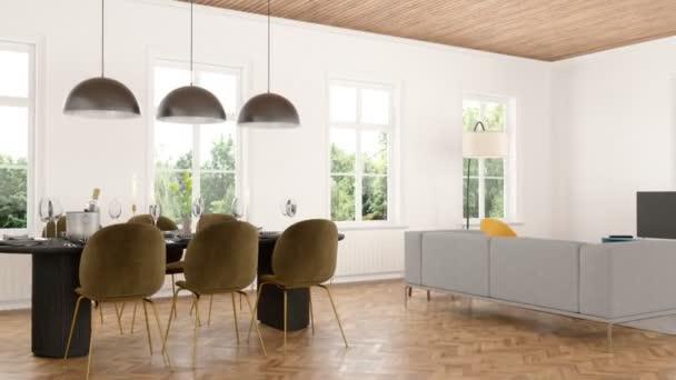 Obývací pokoj s jídelnou interiér