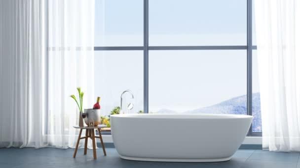 Moderní koupelna s výhledem na moře