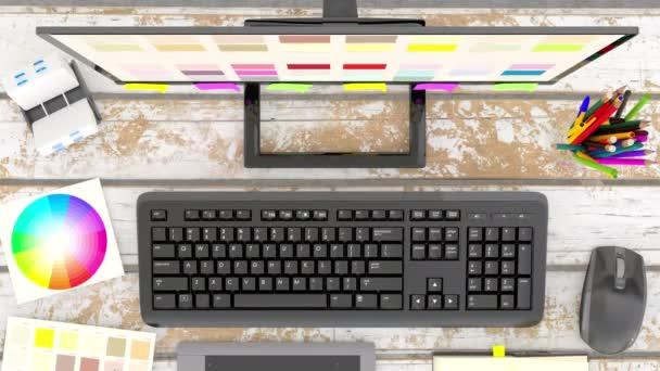 Schreibtisch des Grafikdesigners, Overhead-Ansicht