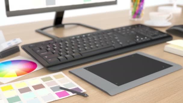 Video vom Schreibtisch des Grafikdesigners