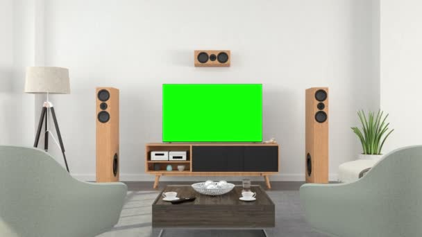Interiér obývacího pokoje s televizí se stopa zelené obrazovky