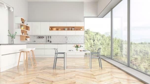 Moderní kuchyně a kuchyňské interiér s výhledem do přírody