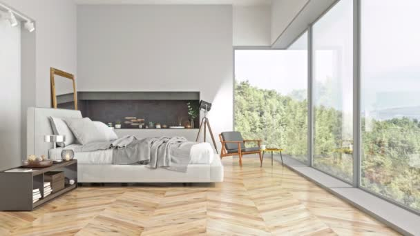 Moderní interiér ložnice s výhledem do přírody