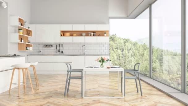 Modern konyha és a konyha belső a természettel