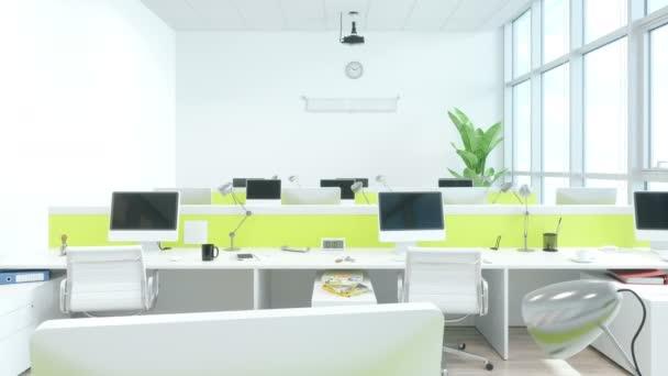Interiér moderního kancelářského interiéru s barevnou zdí
