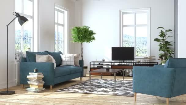 Moderní obývací pokoj s televizorem