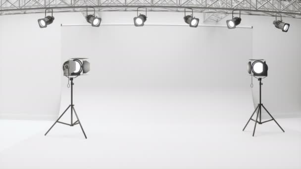 Photography Studio With Lighting Equipment And Backdrop