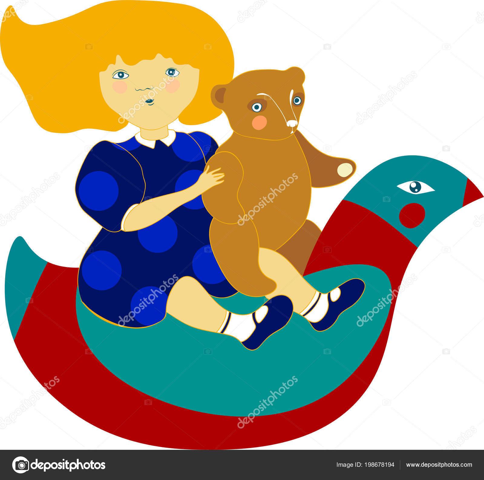 Kinder Schommelstoel Wit.Circulaire Illustratie Met Een Mooi Klein Meisje Paardrijden Een
