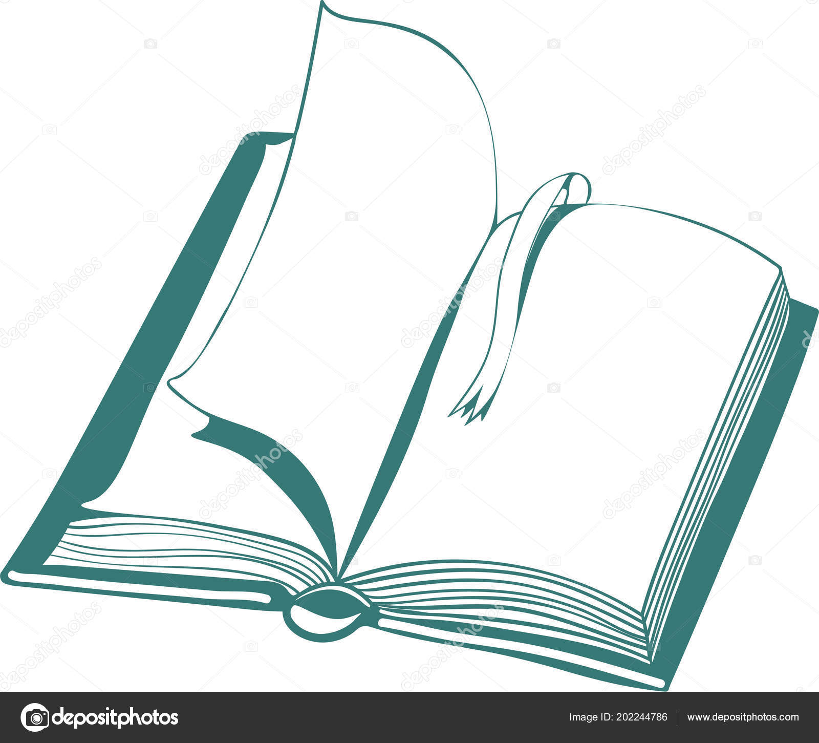 Vector Illustration Open Book Bookmark Linear Drawing White