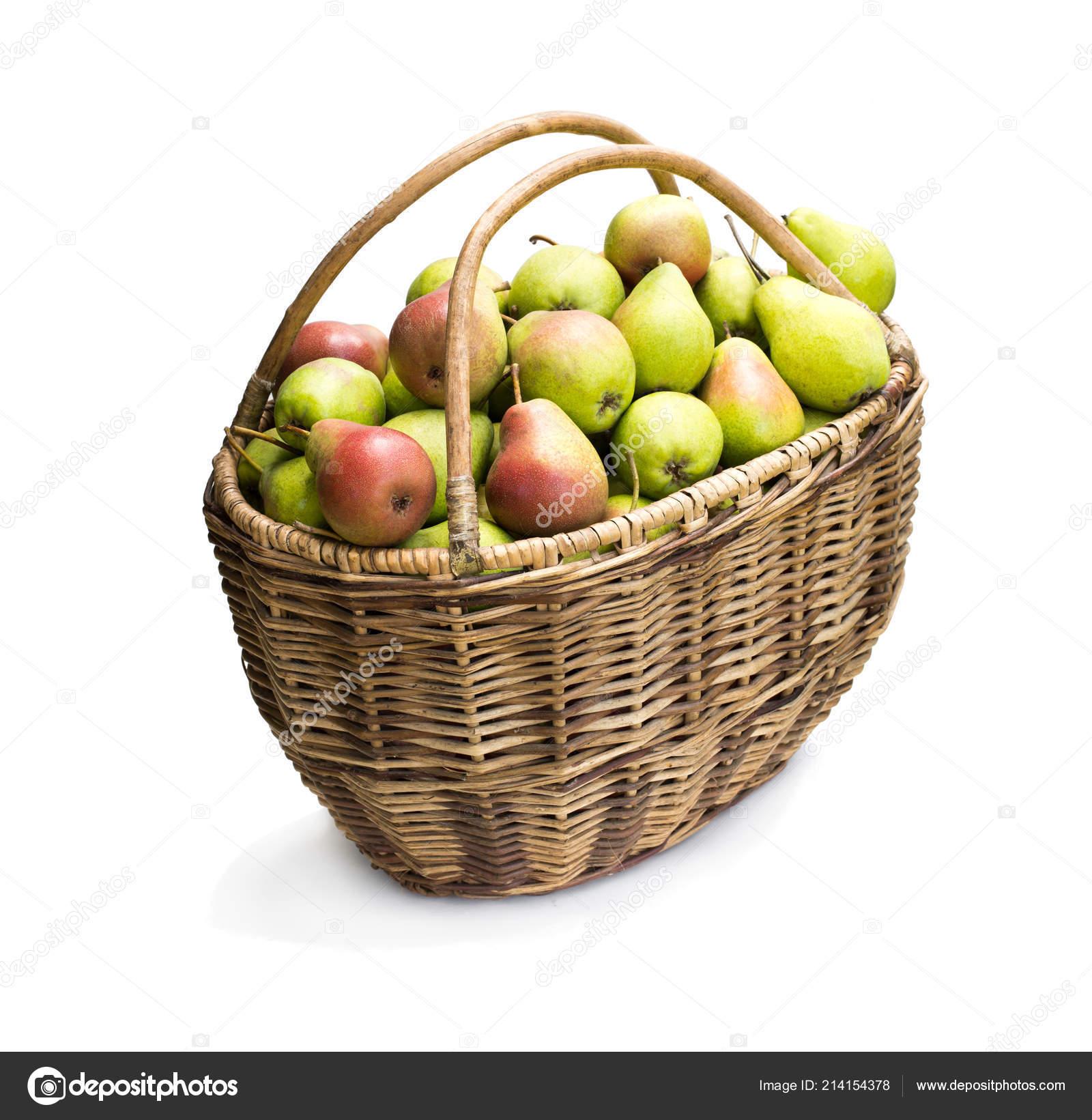 Garden Trading Harvest Basket Rope Handles Full Fresh Pears Isolated ...