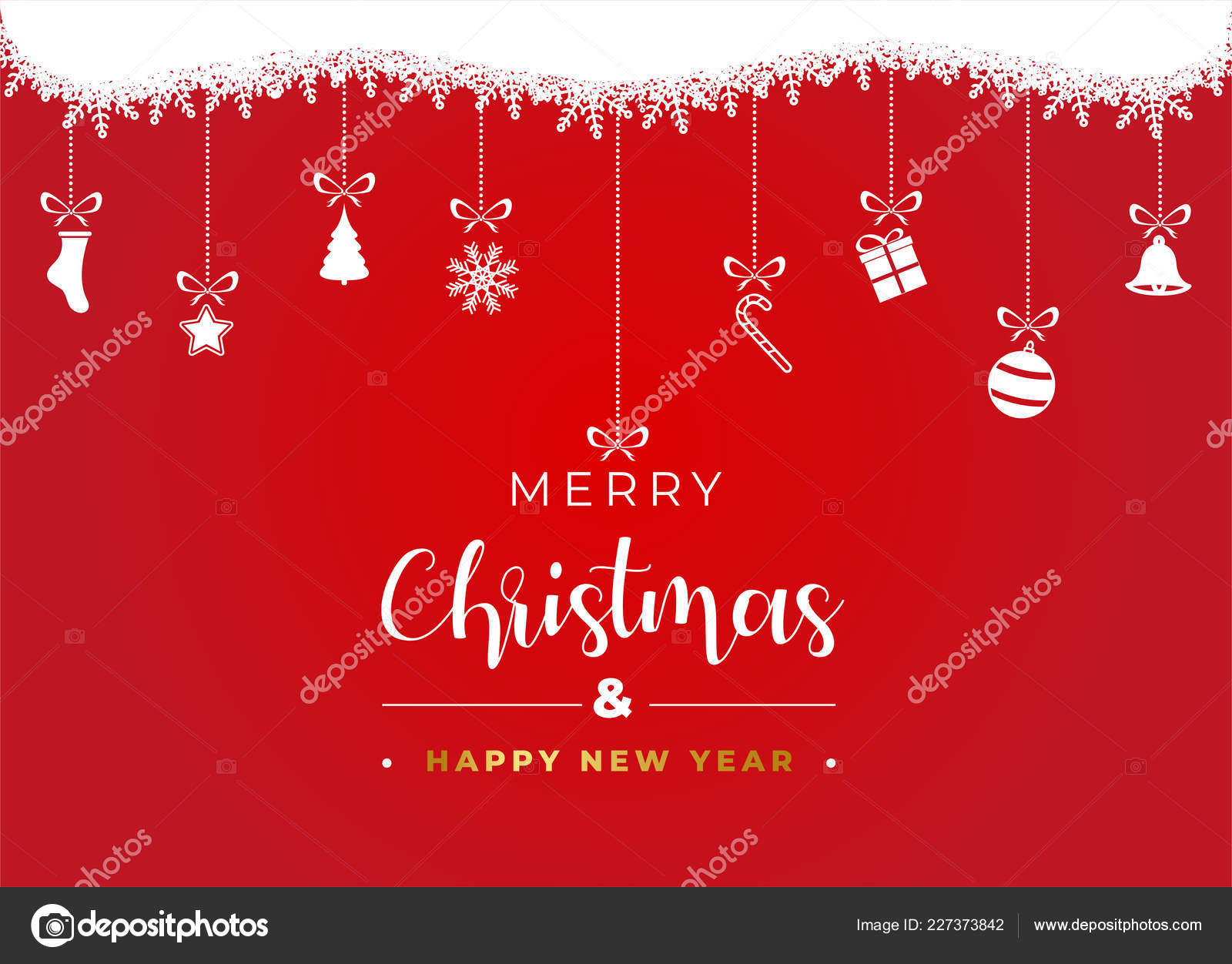 Merry Christmas Happy New Year Banner Christmas Decoration Red ...